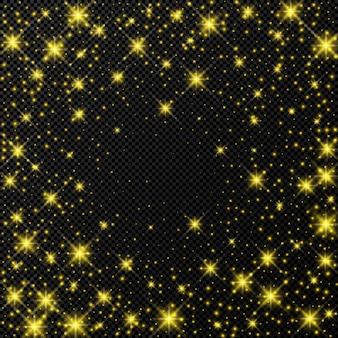 Pano de fundo dourado com estrelas e brilhos de poeira isolados em fundo escuro transparente. efeito de luz brilhante de natal mágico comemorativo. ilustração vetorial.