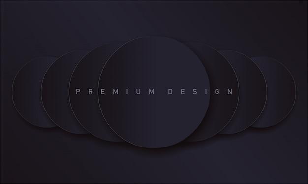 Pano de fundo escuro premium com rodadas de papel realistas para capa ou banner