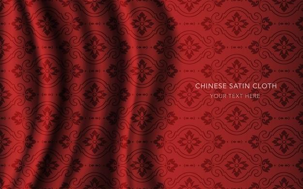 Pano de tecido acetinado de seda vermelha com padrão, flor oval curva cruzada