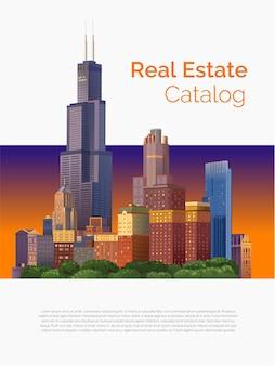 Panorama da cidade para o tema do projeto de ilustração imobiliária e construção