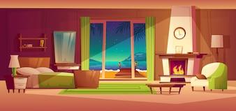 Panorama da noite do interior da villa, janela com beira-mar. Luz da lareira