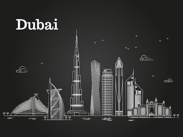 Panorama de dubai linear branco com skylines e edifícios famosos