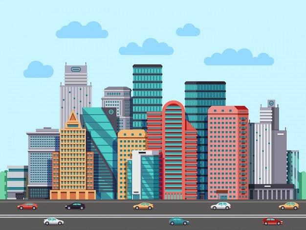 Panorama de edifícios da cidade. fundo de paisagem urbana arquitectura urbana