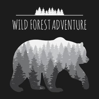 Panorama de floresta vintage em silhueta de urso