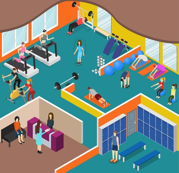 Panorama de ginásio interior com equipamento de exercícios e vista isométrica de pessoas para esporte, fitness.