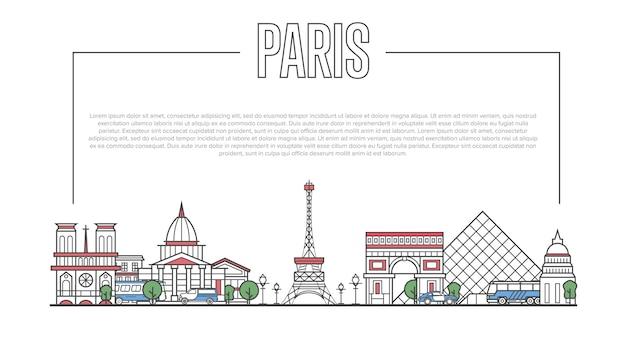 Panorama de marco de paris em estilo linear