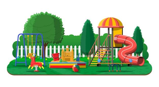 Panorama do jardim de infância do playground urbano