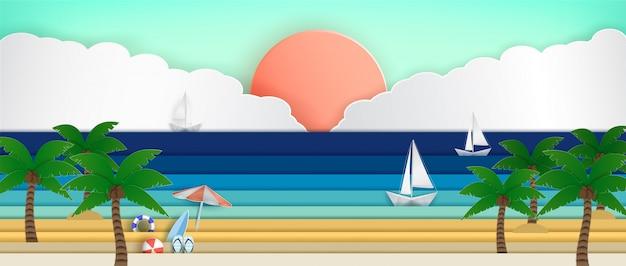 Panorama do mar durante as férias de verão.