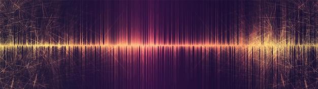 Panorama golden sci fi equalizer onda sonora em fundo de tecnologia, conceito de diagrama de onda de terremoto, design para estúdio de música e ciência, ilustração vetorial.