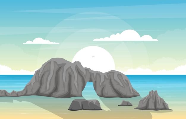 Panorama mar bonito praia costa baía oceano paisagem ilustração