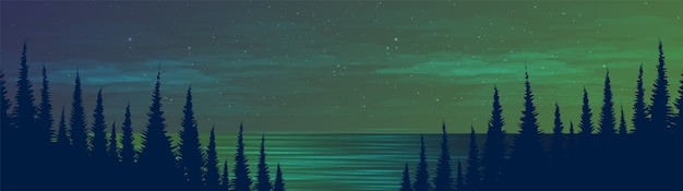Panorama night river na floresta de pinheiros, fundo de paisagem, design de conceito frio e nebuloso.