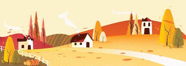 Panorama, vetorial, ilustração, de, paisagem rural, em, outono