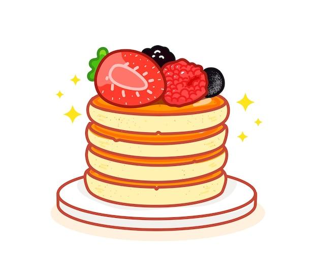 Panqueca com mel, morango e mirtilo doce comida sobremesa café da manhã desenhado à mão cartoon arte ilustração