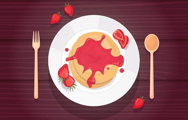 Panqueca geléia de morango xarope comida saborosa menu na mesa