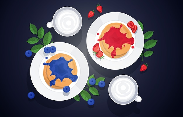 Panqueca morango blueberry food saboroso menu na mesa ilustração