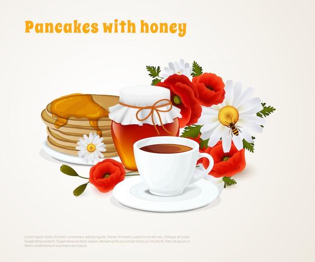 Panquecas com composição de mel