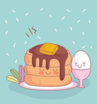 Panquecas com manteiga e ovo menu restaurante comida fofa