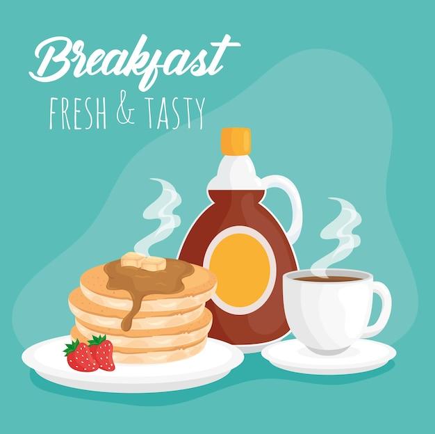 Panquecas de café da manhã com garrafa de xarope e ilustração de xícara de café