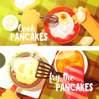 Panquecas de cozinhar duas ilustrações coloridas brilhantes.