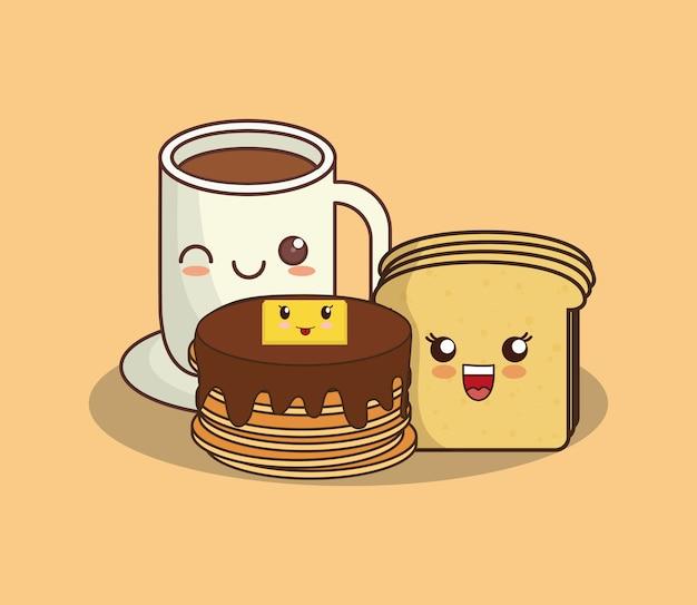 Panquecas do kawaii e caneca de café