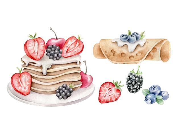 Panquecas em aquarela com frutas isoladas em branco
