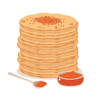 Panquecas em um prato, uma colher e uma tigela de caviar vermelho.