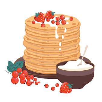Panquecas em uma tigela de prato, frutas e creme de leite.