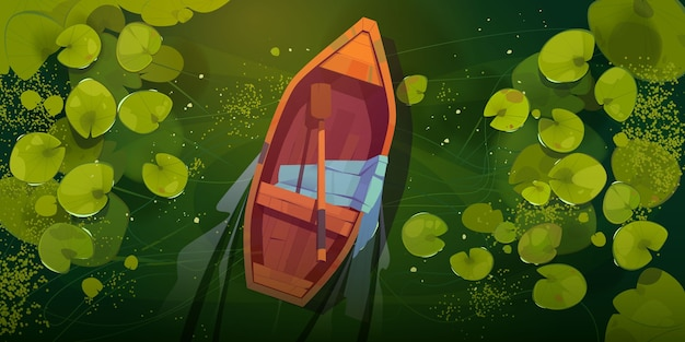 Pântano com barco e folhas de nenúfar