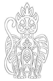 Pantera abstrata do vetor. ornamento étnico oriental. modelo para colorir livros, tatuagem. elemento de design.