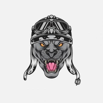 Pantera muscular usando um capacete de moto