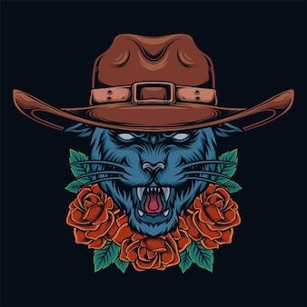 Pantera usando um chapéu de cowboy com um enfeite de rosa