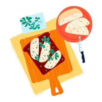 Pão apetitoso do brinde com grama verde saudável, conceito cremoso isolado no branco, ilustração da manteiga da placa de corte da cozinha do pão torrado.