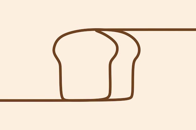 Pão branco assar arte em linha contínua on-line