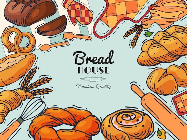 Pão casa padaria banner ilustração.
