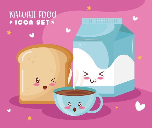Pão com café e leite com personagens kawaii