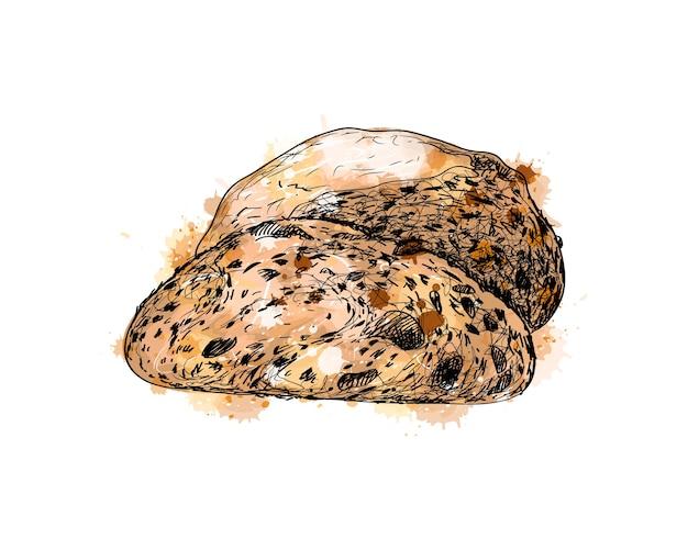Pão com um toque de aquarela, esboço desenhado à mão. ilustração de tintas