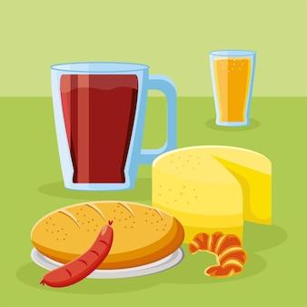 Pão de café da manhã queijo salsicha suco