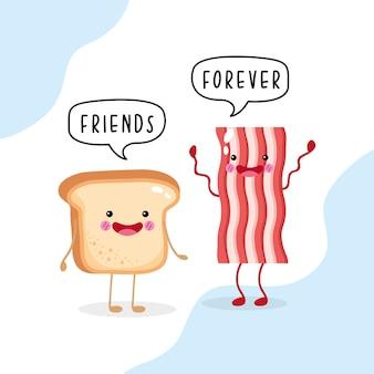 Pão de café fofo e engraçado e bacon sorrindo