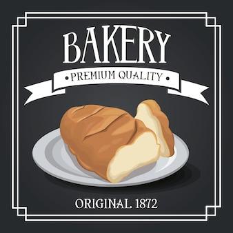 Pão de centeio e pão de trigo de qualidade superior, padaria de qualidade premium, banner decorativo de fita de cereais