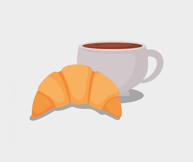 Pão de croissant delicioso e xícara de café