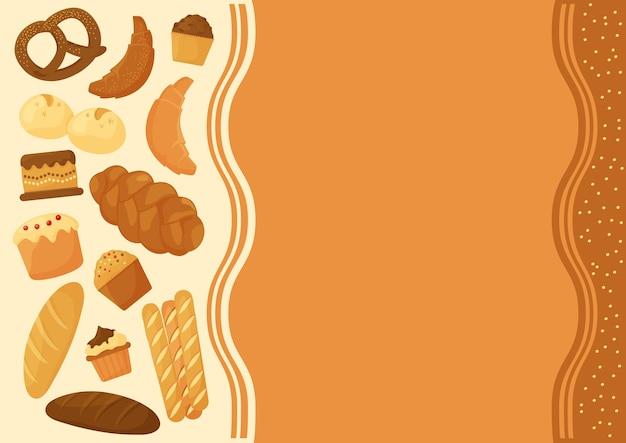 Pão de desenho animado, fundo de produtos de pastelaria de padaria