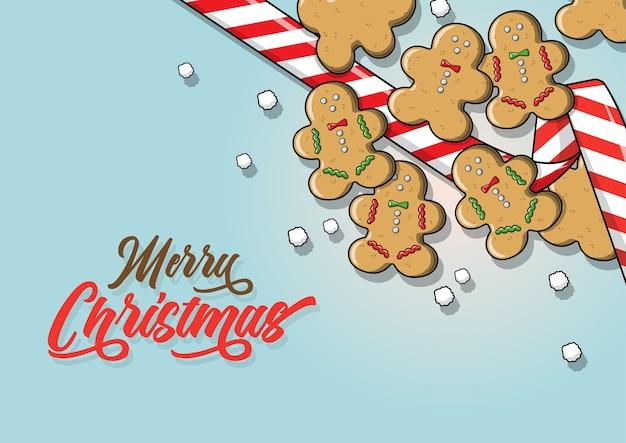 Pão de gengibre realista e fita - isolados em um fundo azul claro. natal, decoração do feriado de ano novo
