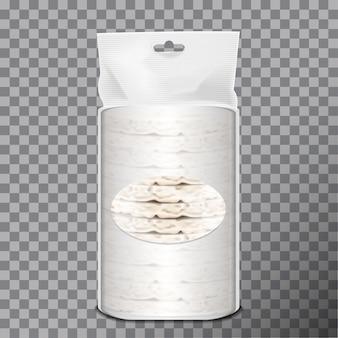 Pão de trigo, arroz ou milho em embalagem plástica branca ou filme celofane.