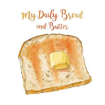 Pão de vetor com manteiga