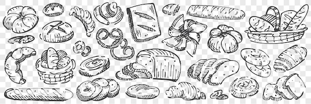 Pão desenhado à mão doodle conjunto. coleção de lápis a giz desenhando esboços de pães brindes pretzel baguete muffins pães suíços roll donuts bagel em fundo transparente. ilustração de comida de cozimento.