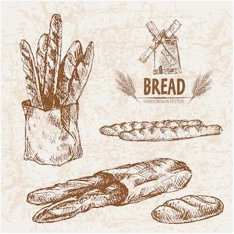 Pão desenhado à mão