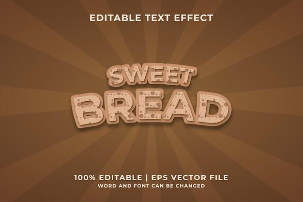 Pão doce modelo de efeito de texto estilo premium vetor premium