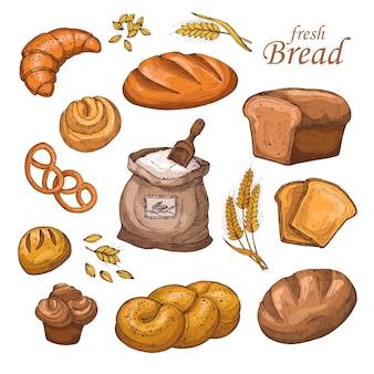 Pão dos desenhos animados, produtos de panificação fresco, farinha, espigas de trigo. conjunto de vetores de mão desenhada isolado