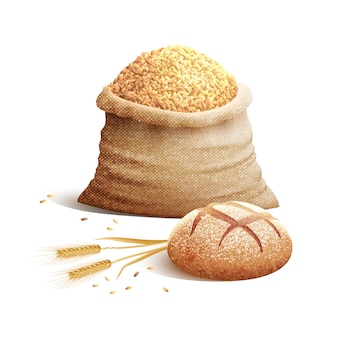 Pão e grão 3d conceito