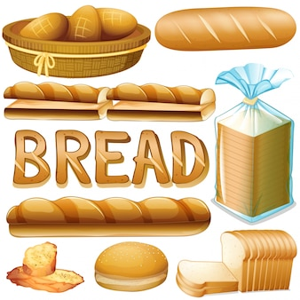 Pão em vários tipos de ilustração